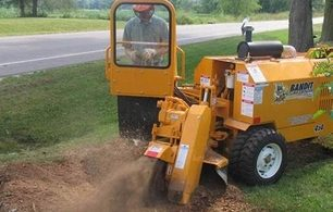 Picture of our stump grinder being used to remove a stump in Independence, MO